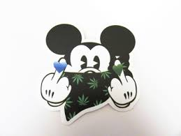 free 420 gangsta mickey mouse vinyl sticker helmet car