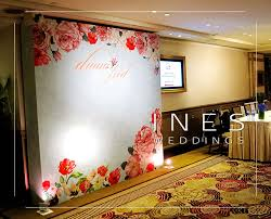 wedding backdrop hk pink and blue floral water color pattern wedding backdrop design