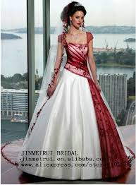 inexpensive cap sleeve ball gown corset lace red and white wedding