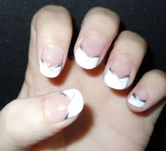 nail art tutorial silver french with black and white stripes54