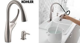 kohler single kitchen faucet kohler mazz single handle pull sprayer kitchen faucet in