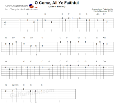 o come all ye faithful easy guitar tab guitarnick com