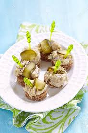 pate canapes canapes with fish pate and pickle food stock photo picture