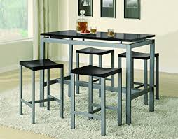 metal dining room tables amazon com coaster 5 piece metal dining set with 4 barstools