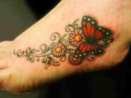 Flower Tattoo Designs On Feet - girly tattoos on foot butterfly tattoo foot tattoo girly
