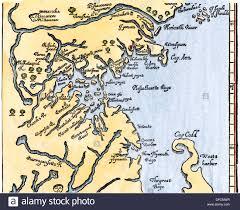 Maps Of Massachusetts by William Wood U0027s Map Of Massachusetts 1634 Stock Photo Royalty