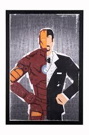 edge home iron man retro framed hand made comic collage 24