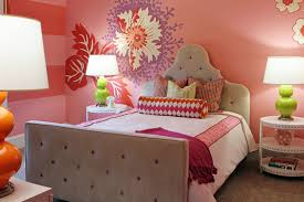 bedroom bright orange paint colors with small round bedside table