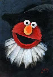 elmo painting a mccain as a sesame muppet