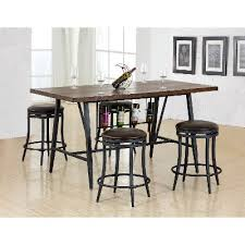 Dining Room Table With Wine Rack Brown And Metal 5 Dining Set With Wine Rack David