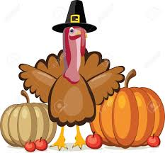 vector design of turkey pumpkins and apples for thanksgiving