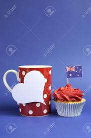 Chicago Flag Coffee Mug Australian Theme Red White And Blue Cupcake With National Flag