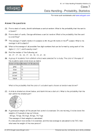 year 7 math worksheets and problems data handling probability
