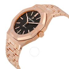 mens rose gold bracelet images Audemars piguet royal oak automatic black dial 18kt rose gold jpg