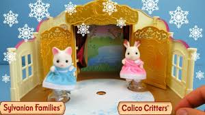sylvanian families ice skating in ice rink calico critters toy