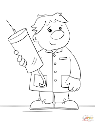 cartoon doctor with a syringe coloring page free printable
