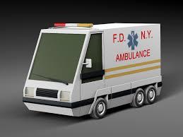 cartoon car 3d asset low poly cartoon car ambulance cgtrader