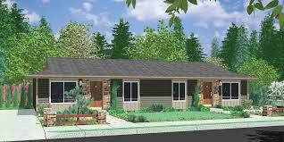one level homes one level duplex house plans corner lot narrow town townhouse in