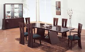 modern dining room with bench wood set soft grey rug fur leather