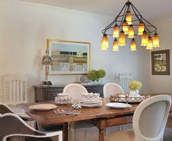 Transitional Chandeliers For Dining Room by Rustic Wood Dining Room Shabby Chic Style With Mixed Chairs Casual