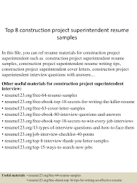 construction project manager sample resume top8constructionprojectsuperintendentresumesamples 150730021719 lva1 app6891 thumbnail 4 jpg cb 1438222685