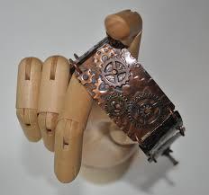 mixed metals steampunk copper bracelet hammered copper bracelet