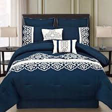 Royal Blue Bedroom Ideas by This Royal Blue Bedding Set Features A White Motif Pattern On The