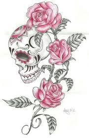 girly skull pencil and in color girly skull