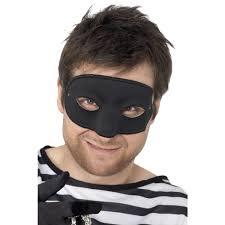 Burglars by Mens Black Burglar Fancy Dress Masquerade Eye Mask 94192