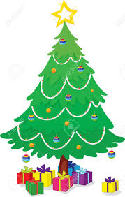 illustration of christmas tree and gifts royalty free cliparts