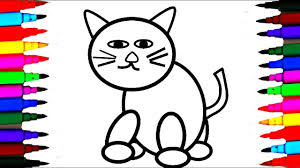 how to draw and color cute kitty cat l rainbow color cat drawing