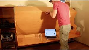 murphy bed desk hidden bed desk beddeskplans com youtube