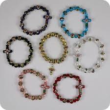 rosary bead bracelet cloisonne rosary bracelets sideways cross pendant