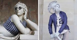 classic sculptures get dressed in modern clothes for u0027hipsters in