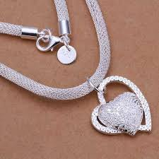 silver heart necklace wholesale images Wholesale silver plated necklaces pendants 925 jewelry silver jpg