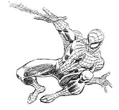 drawn spider man black and white pencil and in color drawn