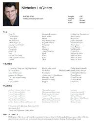 Resume Template For Actors by Musical Theatre Resume Template High School Theatre Resume