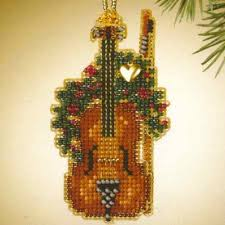 violin beaded ornament kit mill hill 2007 harmony