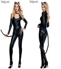 Persian Halloween Costumes Cat Women U0027s Stage Clothing Faux Leather Bodysuit Persian Cat