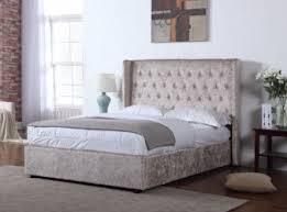 Velvet Bed Frame Crushed Velvet Fabric Upholstered Bed Frame Gold