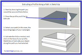 extruding shapes along paths with the sketchup follow me tool