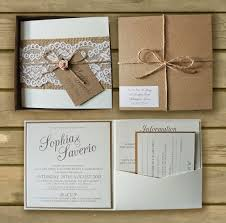 bespoke boxed kraft wedding invitations lace u0026 hessian
