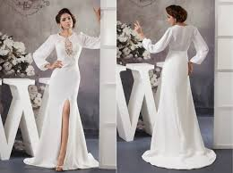 simple colored wedding dress with long sleeves sang maestro