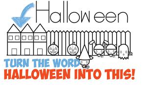 draw halloween trick treating scene word word