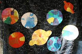 create with your hands salad spinner spin art planets solar system