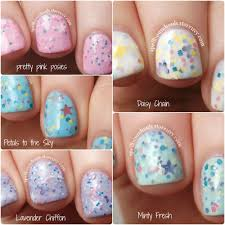 mini spring 2014 collection custom pastel glitter crelly nail