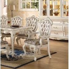 Floral Dining Room Chairs Acme United Chantelle Pearl White Formal Traditional 9pcs Dining