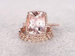 2 5 Cushion Cut Diamond Engagement Ring 5 Carat Cushion Cut Morganite Wedding Set Diamond Bridal Ring 14k