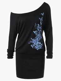 long sleeve dresses black 2xl butterfly pattern skew collar