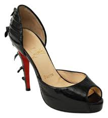 christian louboutin black patent leather peep toe ruched knot d